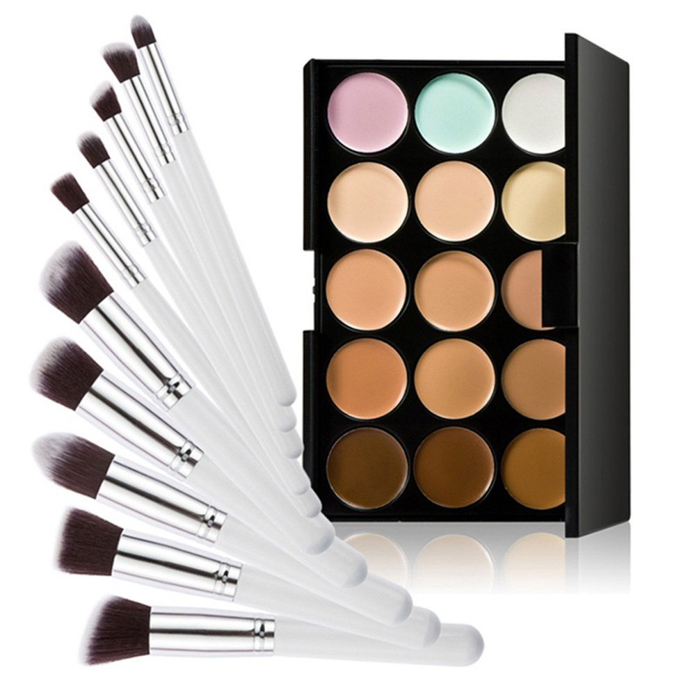LEORX Face Contour Kit Highlighter Makeup Kit 15 Colour Cream Concealer Palette with 10pcs Brush