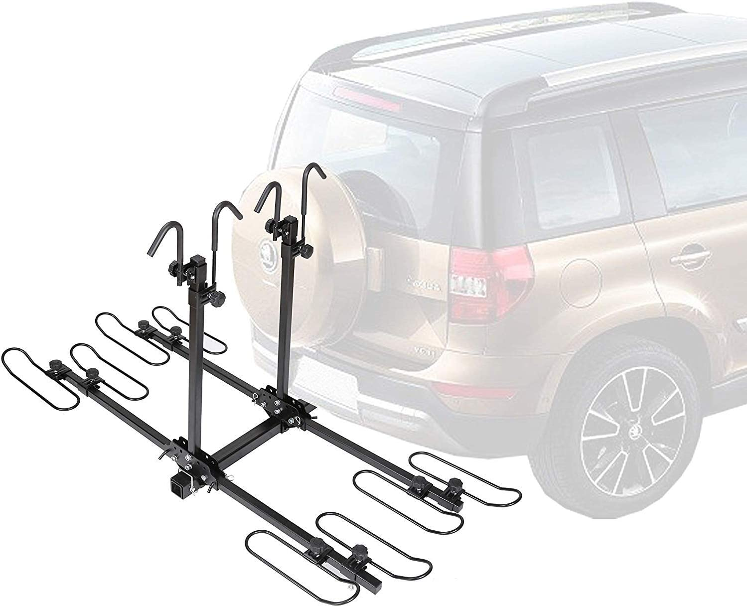 Bike Rack for Car SUV Truck Tow Trailer Hitch Receiver Mount Size 2 Venzo 4 Bike Bicycle Platform Style Carrier Sturdy /& Rust Proof