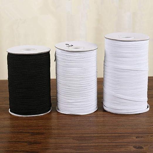 Bandas elásticas blancas y negras de 3 mm a 50 mm de cuerda de goma de