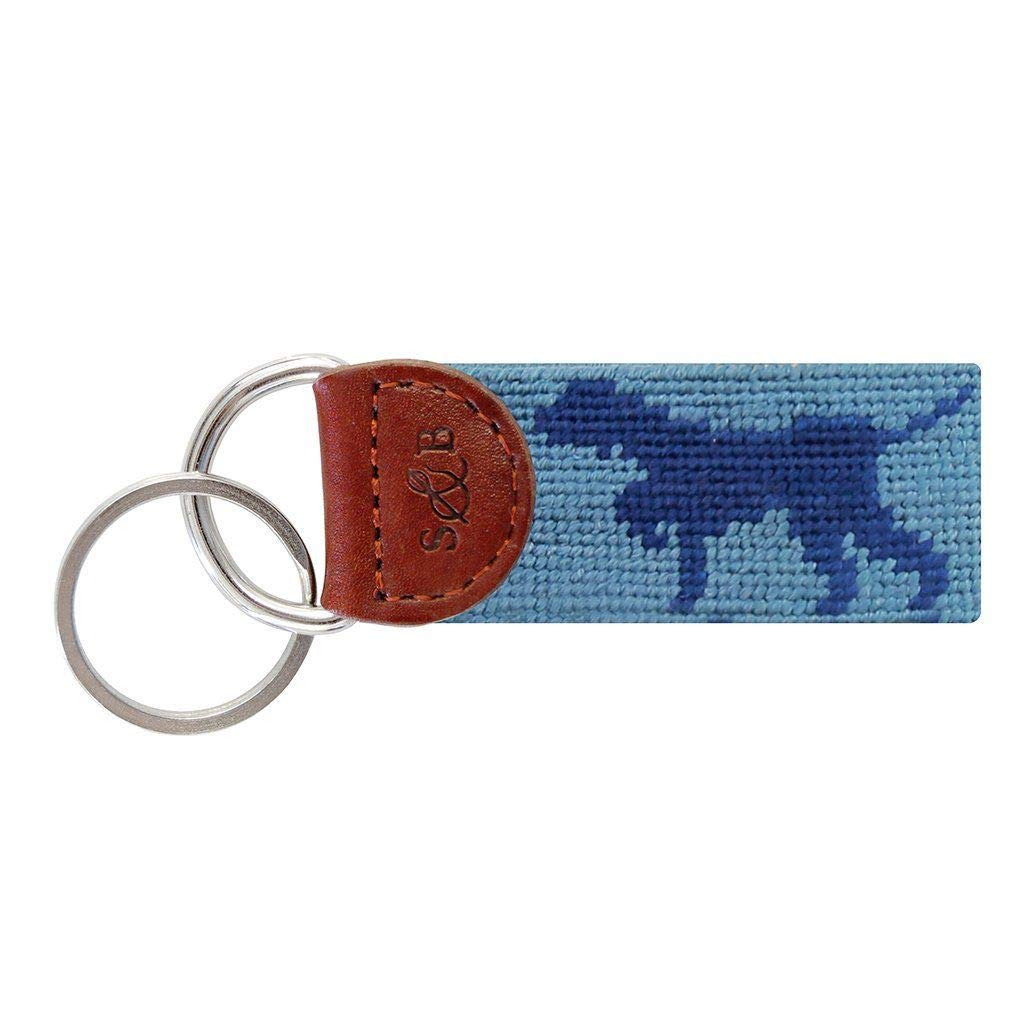 Dog on Point Needlepoint Key Fob in Steel Blue by Smathers & Branson