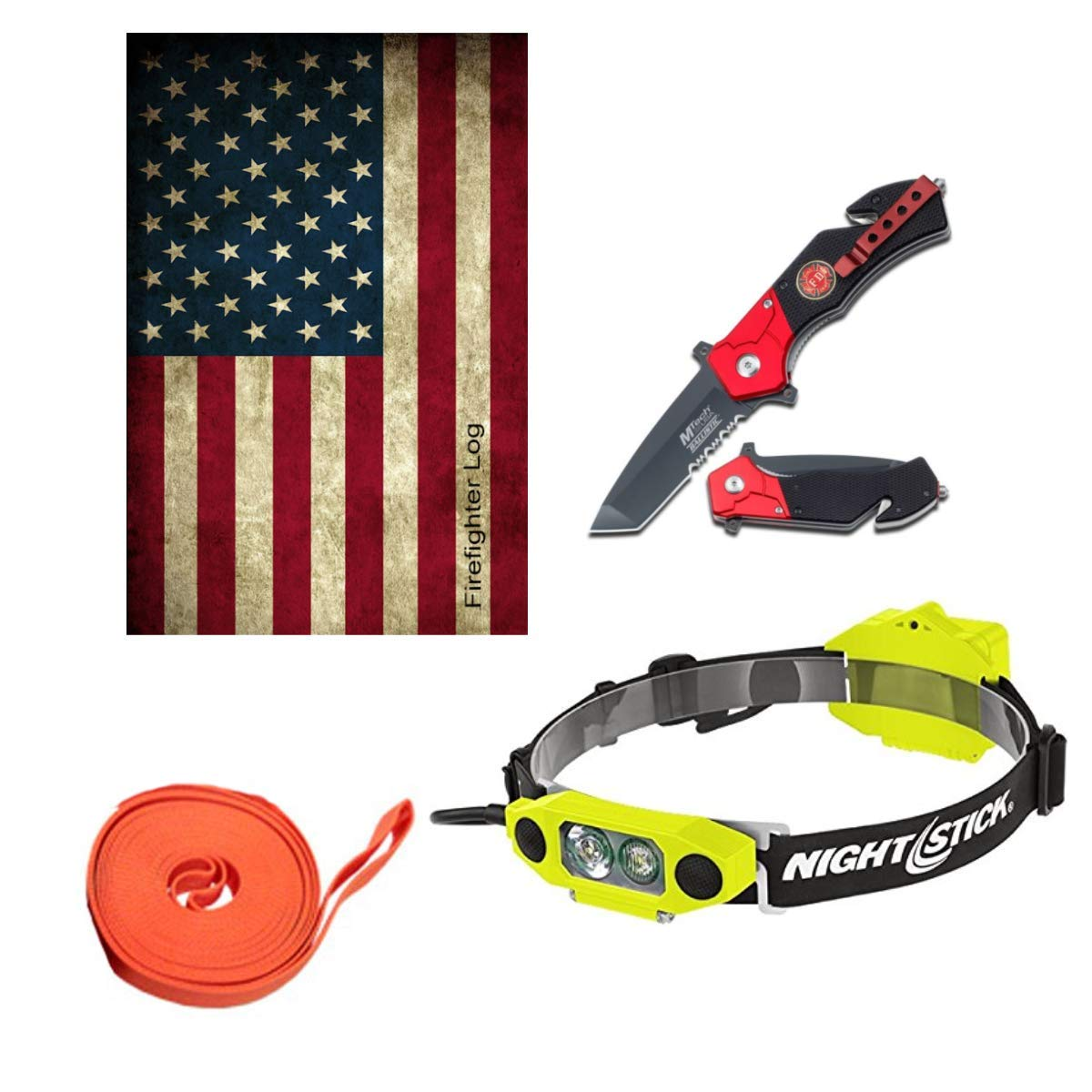 Tactical Flashlight Tools Firefighter Bundle- 1 - Tactical Light Headlamp | 1 - Tactical Knife | 1 - Drag Strap | 1 - Firefighter Log Book (Track training hours, Run activities, work, ect.) by Legacy Tactical