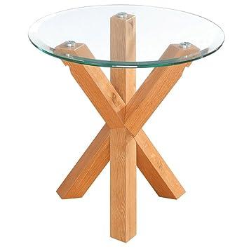 Lpd Furniture Oporto Lamp Table Solid Oak Clear Glass Criss