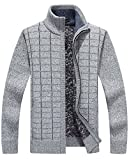 HOW'ON Men's Solid Slim Fit Long Sleeve Zip up Knit Cardigan Light Grey M