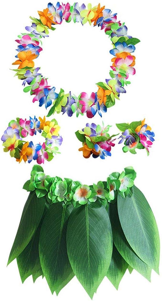 Amosfun 5 Pcs Hawaii Hula Jupe Herbe Naturelle Raphia Tassel Hula Robe Hawa/ïenne Luau Party Performance Costume Jupe pour Enfants Adultes /Ét/é Robe De F/ête De Plage