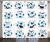 Sports Decor Collection Cartoon Soccer Ball with Many Expressions Bored Laughing Happy Smiley Image Living Room Bedroom Curtain 2 Panels Set Blue White Red Pink