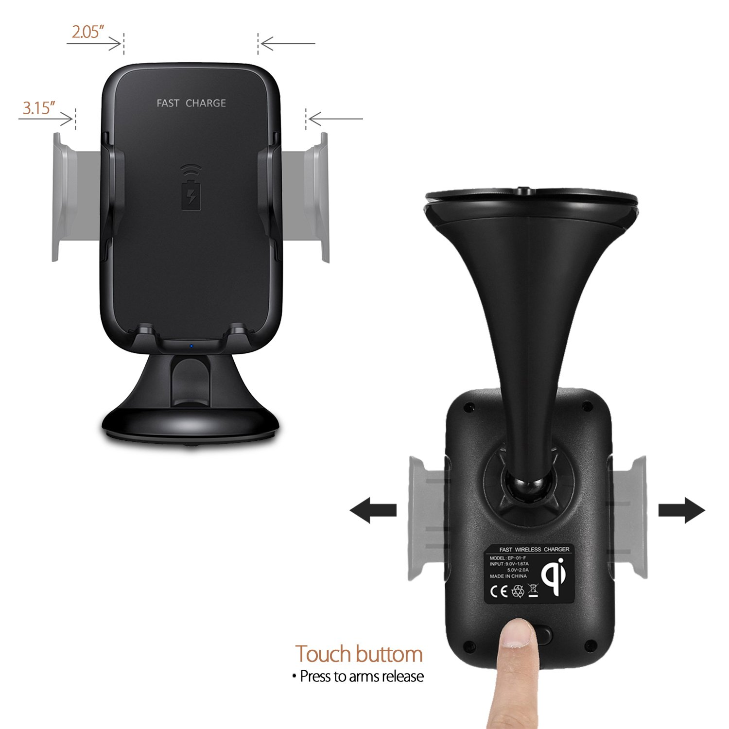 10.8W Wireless Charger Vehicle Dock S7 Edge MF-CC-06-pack 8//8 Plus Samsung Galaxy Note 8 S8 Plus Qi Wireless Charging Car Mount Compatible iPhone X mobfun Fast Car Wireless Charging Mount Car Charger