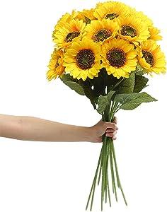 6PCS Artificial Sunflower Flowers Long Stem Silk Fake Sunflowers Decoration for Halloween Outdoor Home Birthday Party Single Bulk Yellow (Dark Center)