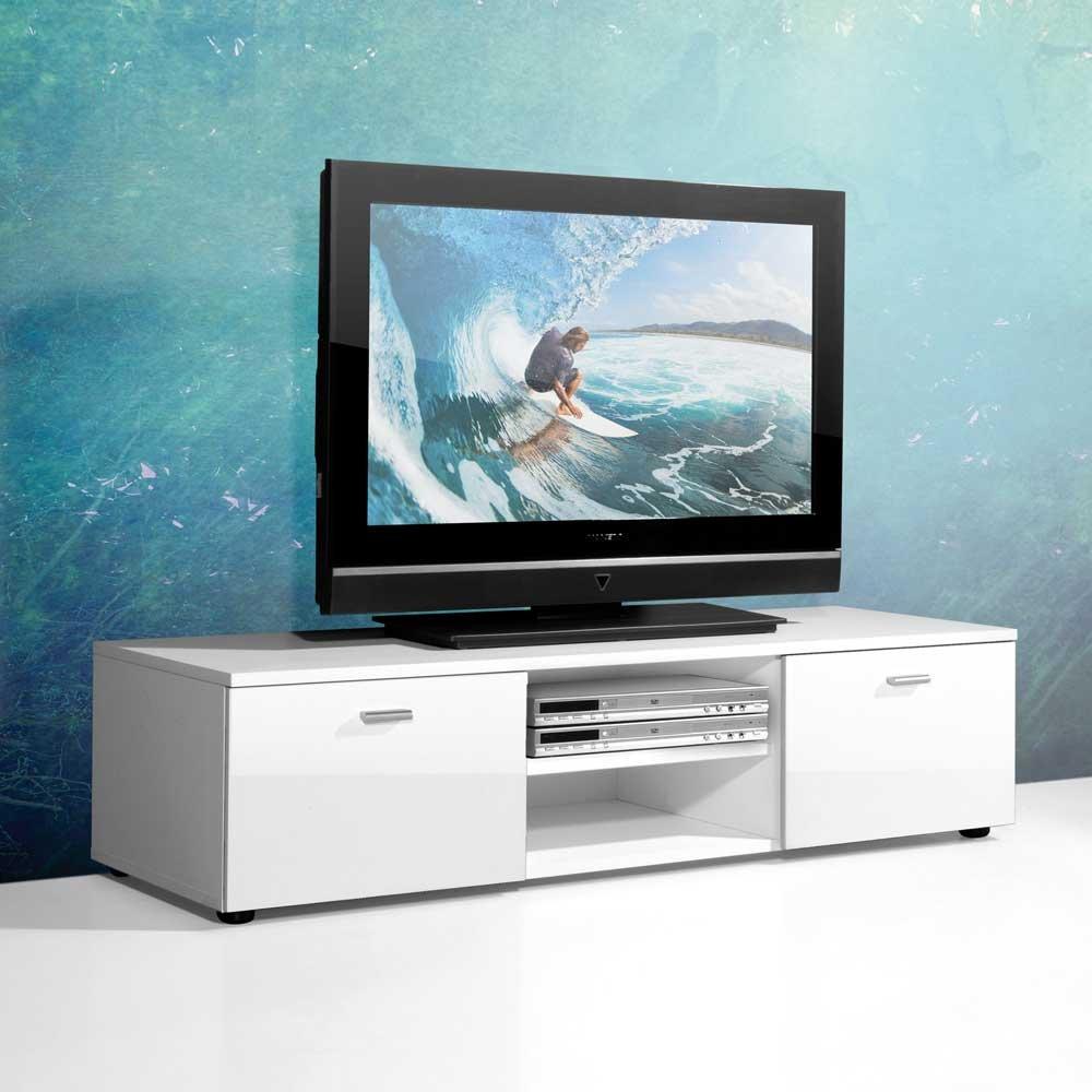 Tv schrank weiß hochglanz 120  TV Unterschrank in Weiß Hochglanz 120 cm Pharao24: Amazon.de ...