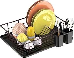 Dish Drying Rack,GSlife Dish Rack with Tray Small Dish Drainer for Kitchen Countertop