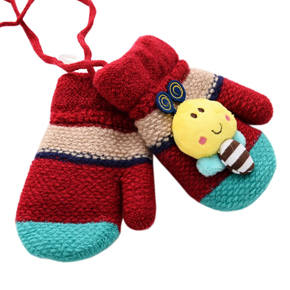 1 Pair Kids' Winter Glove Knitted Mittens With Sling(0-3 Years) Bee Red Kylin Express