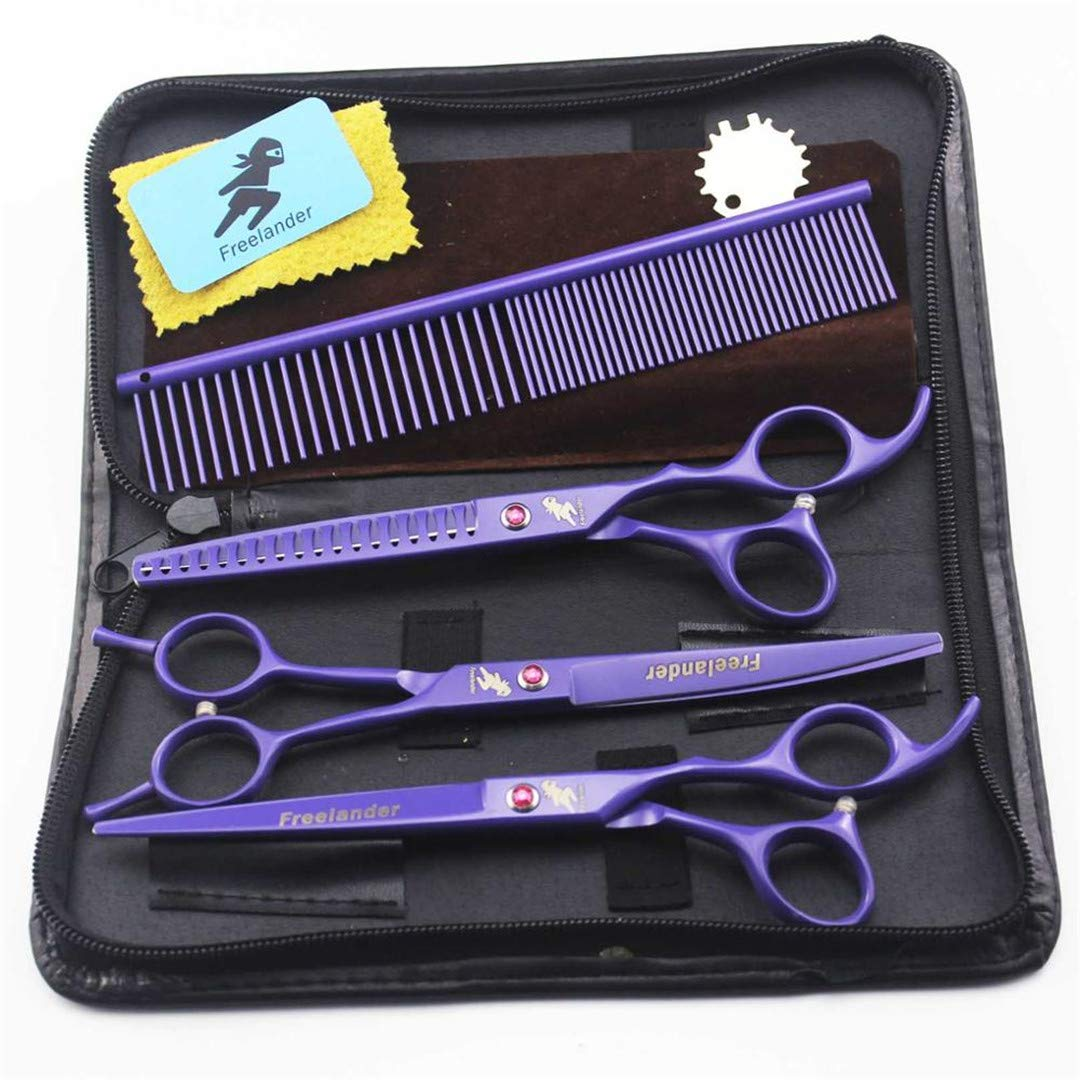 7'' Professional Pet Grooming Kit, Direct and Thinning Scissors and Curved Pieces 4 Pieces,Technicolor Violet 3