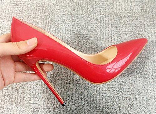 Guoar Kvinners Stiletto Store Størrelse Sko Spisse Tå Patent Damene Solide Pumper For Arbeidsplassen Kjole Part A-rød