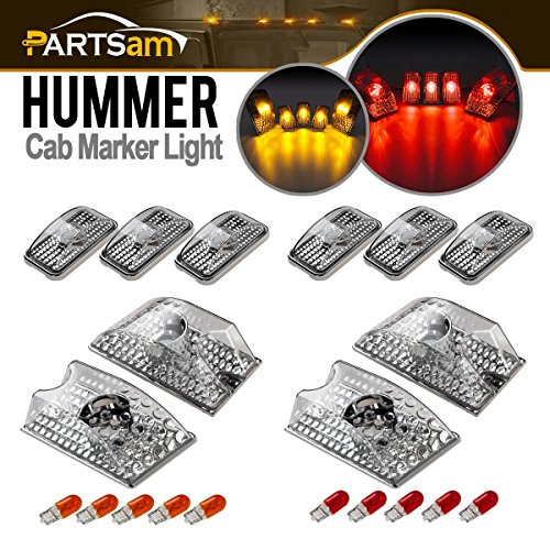 Partsam 10pcs Clear Lens Cab Marker Roof Running Top Crystal Chrome Lights 264160CL Assembly w/(5xRed+5xAmber) T10 194 168 W5W Halogen Bulbs Compatible with Hummer H2 SUV SUT 2003-2009