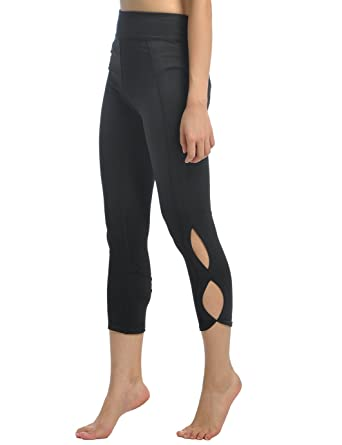 6b9878941d JIMMY DESIGN Leggings for Women, Breathable Stretch Running Capri 3/4  Length Yoga Pants Black S: Amazon.co.uk: Clothing