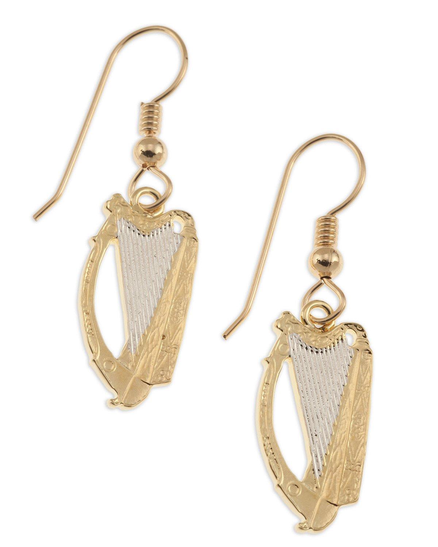 Irish Harp Coin Earrings, Ireland Harp Coin Hand Cut, 14 K Gold and Rhodium Plated, 3/4