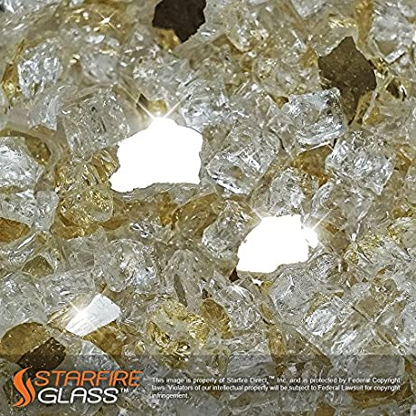 Starfire Glass 10 Pound Fire Glass With Fireplace Glass And Fire Pit Glass 1 2 Inch Gold Reflective Supreme