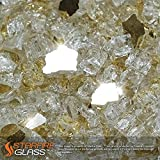Starfire Glass® 10-Pound Fire Glass with Fireplace Glass and Fire Pit Glass, 1/2-Inch, Gold (Reflective Supreme)