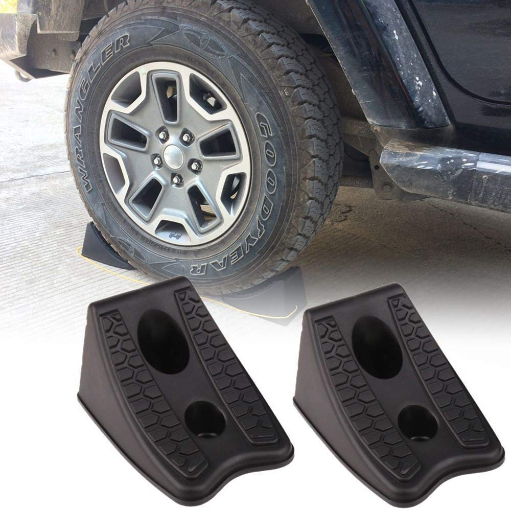 AZX Heavy Duty Wheel Chocks anti-skid Vehicle Wheel Chock Stop Blocks for Caravan Truck Car Wheel Stoppers (4 PCS)