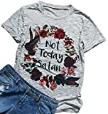 Not Today Satan Floral Printed Funny T Shirt Women's Casual Short Sleeve Top Tee Size M (Gray)