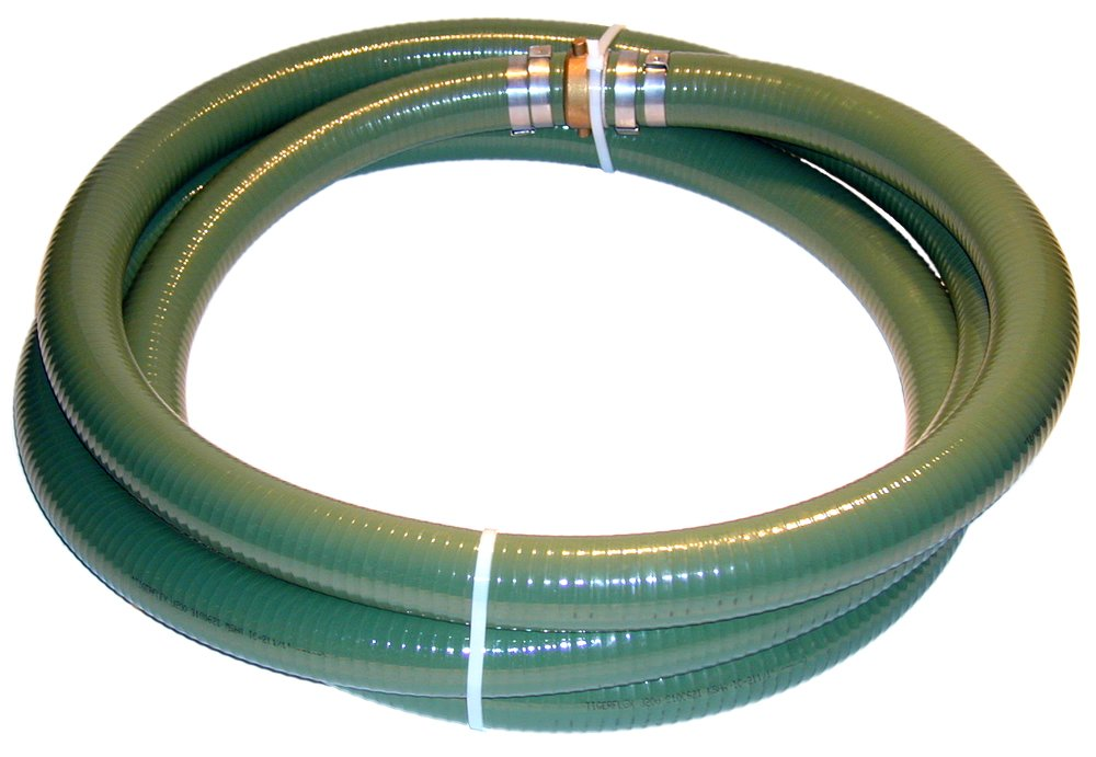 Tigerflex Series J PVC Suction Hose Assembly, Green, 4'' Male X Female (CXE) Camlocks, 50 PSI Maximum Pressure, 4'' Hose ID, 20' Length