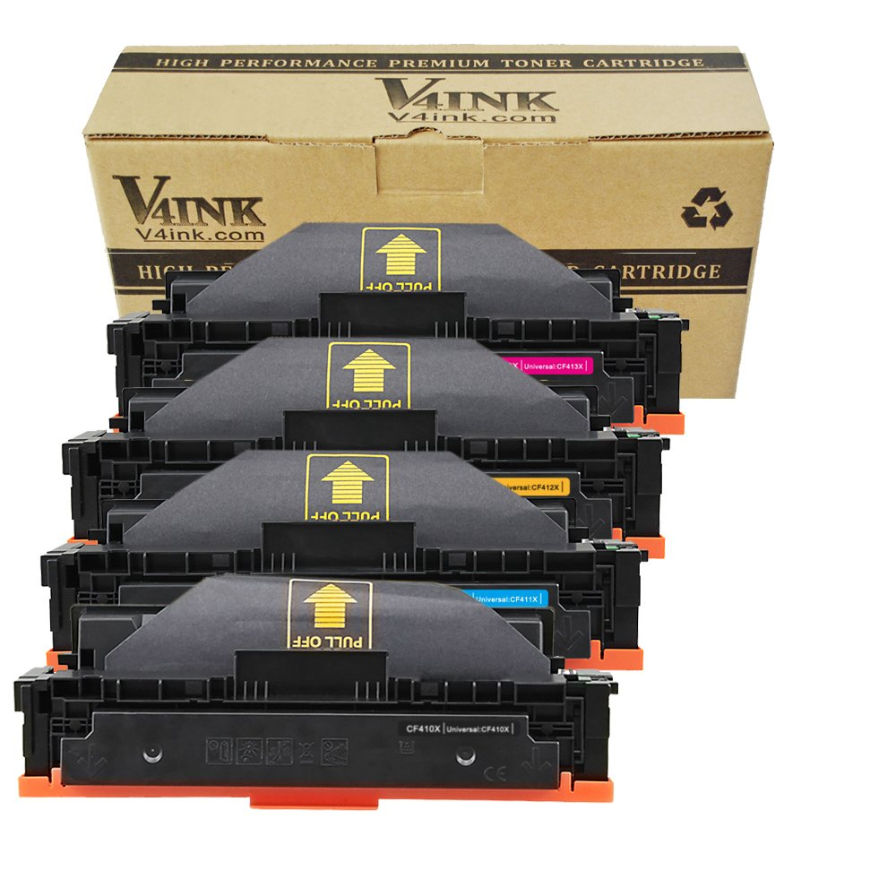 V4INK New Compatible HP 410X CF410X CF411X CF412X CF413X High Yield Toner Cartridge for HP Color LaserJet Pro M452dn M452nw M452dw M377dw,MFP M477fdn M477fdw M477fnw (4 Pack-KCMY)