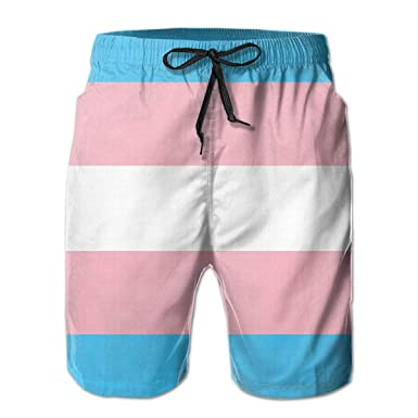 807d46839f Casual Mens Swim Trunks Quick Dry Transgender Pride Flag LGBT Pride Printed  Beach Shorts Summer Boardshorts with Mesh Lining | Amazon.com