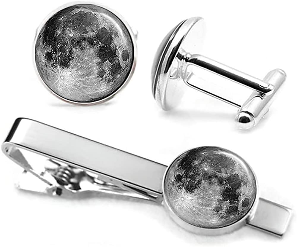 SharedImagination Moon Cufflinks, Planet Earth Tie Clip, Milky Way Cuff Links Solar System Jewelry, Geek Wedding Day Gifts