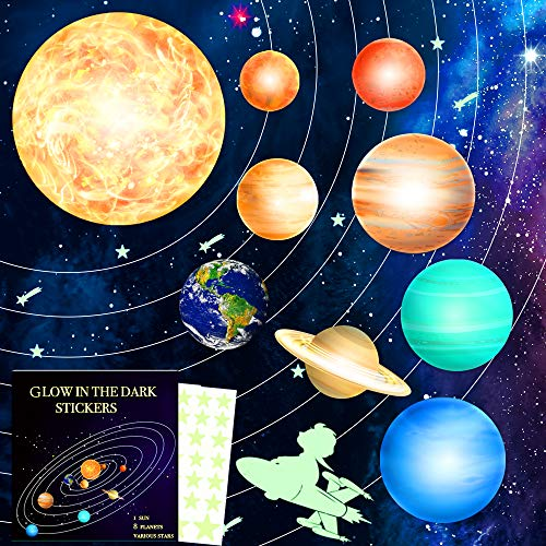 HORIECHALY 98 PCS Glow in The Dark Stars and Planets Stickers Solar System Wall Stickers Ceiling Decoration for Any Room-Gift for Christmas