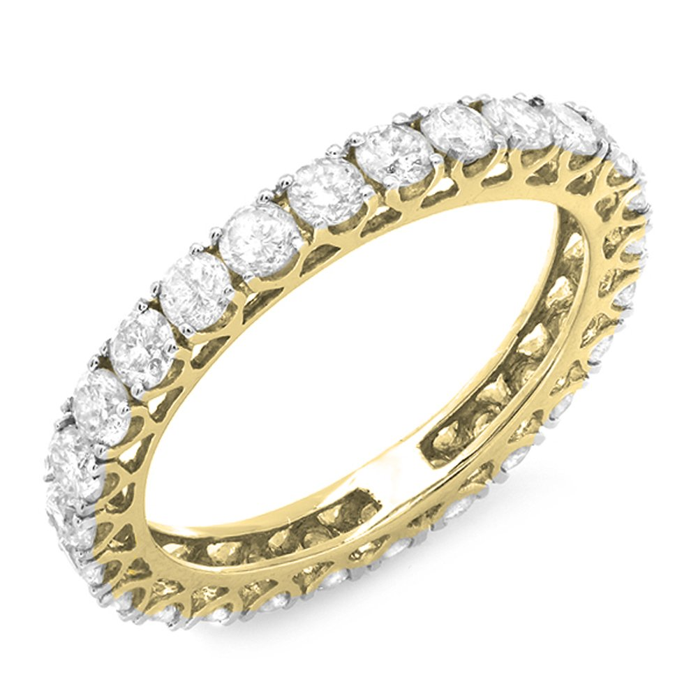 Dazzlingrock Collection 1.45 Carat (ctw) 14K Round Diamond Ladies Wedding Band Eternity Ring 1 1/2 CT, Yellow Gold, Size 8