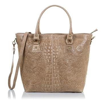 FIRENZE ARTEGIANI. Cuir véritable Lady sac cabas. Gravé de finition en cuir véritable sac motif tressé géométrique et laqué. MADE IN ITALY. VERA PELLE ITALIENNE. 35 5x37x16 cm couleur: brun TMU9pjo