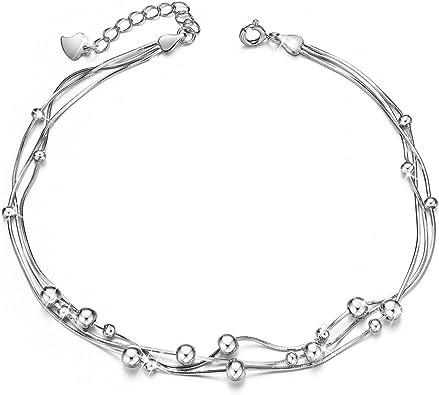 V/énus/Bracelet de Cheville pour Femme J Bracelet cha/îne r/églable Cadeau pour 925 Argent Pur Bracelet damiti/é pour Femme Bijoux Cadeau avec /étoiles