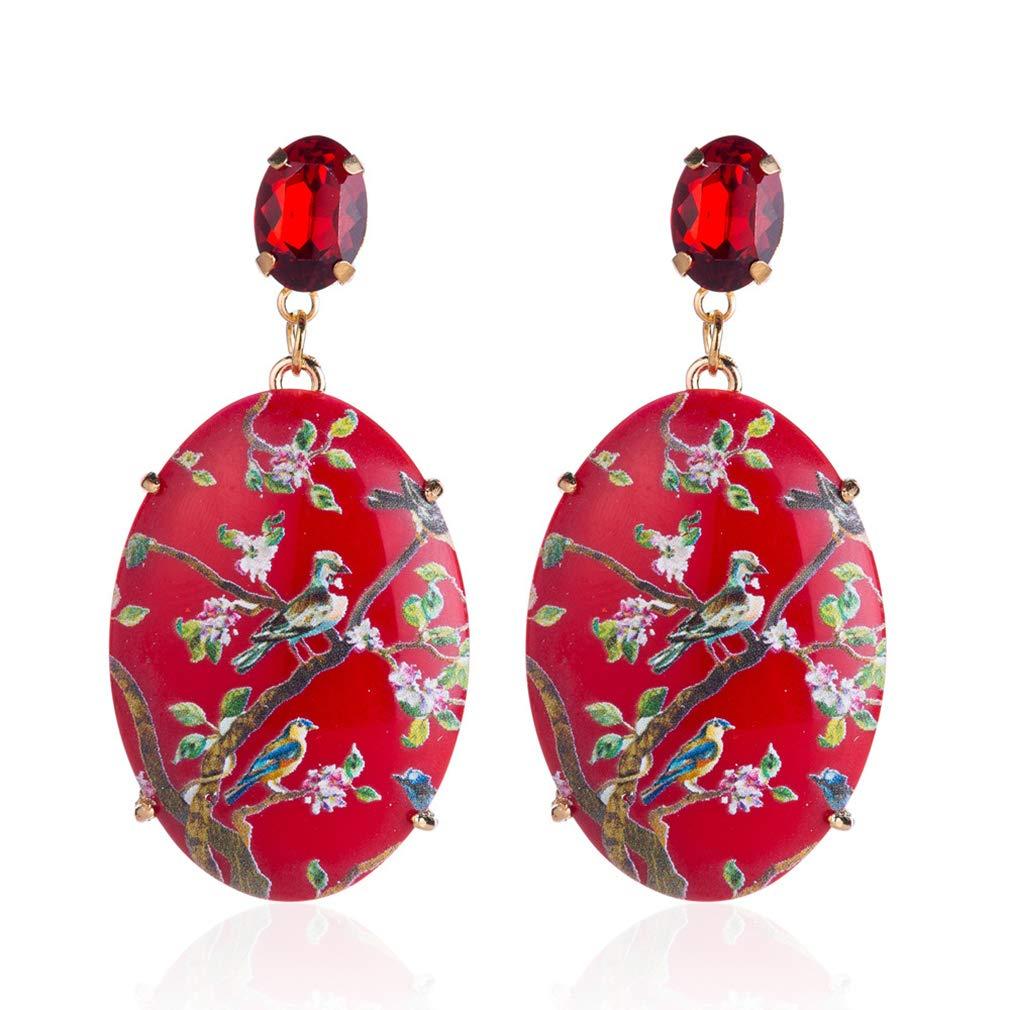 EH-LIFE Dangle Earrings for Women Wedding Rhinestone Dangle Drop Earrings Jewelry Gift Red