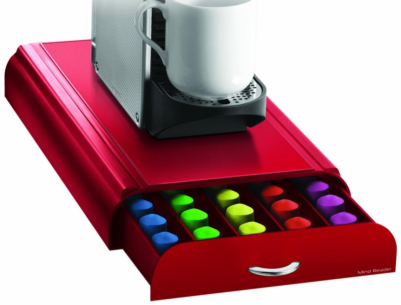 Mind Reader 50 Capacity Nespresso Capsule, 24 Capacity Vertuoline Coffee Pod Storage Drawer Organizer, Red