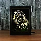 Ornerx 3D Illusion Lamp Photo Frame LED Night Light Beautiful Girl