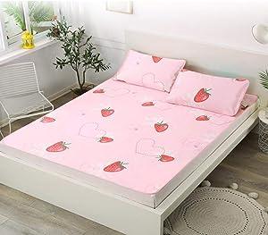 Mattress Topper Twin,2Pcs/Set Cartoon Pattern Foldable Summer Cooling Sleeping Mat Air Conditioning Mat with Pillowcase
