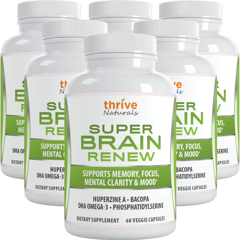 Thrive Naturals Super Brain Renew - Memory Supplement - Brain Food Made from Phosphatidylserine & Bacopa Extract - Best Vitamin Pills for Memory - 360 Vegetarian Capsules - 6 Month Supply (6 Pack)