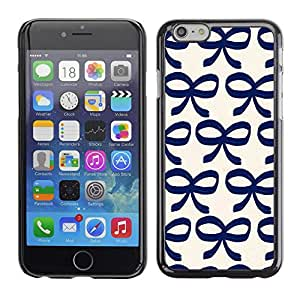 Soft Silicone Rubber Case Hard Cover Protective Accessory Compatible with Apple iPhone? 6 (4.7 Inch) - bow bowtie blue white pattern clean