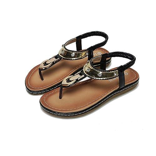 Mishuo Zapatos Sandalias Mujer Verano 2019 Plataforma Mujer Niña Chanclas Ortopedicas Juanetes de Vestir con Tiras Romanas de Playa Novia Elegante Comodo: ...