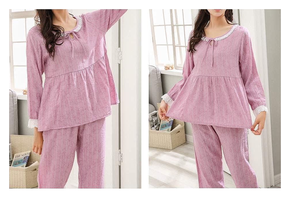 BAIYIXIN Big Girls Cotton Pajamas Set Long Sleeve Lace Pjs Sleepwear