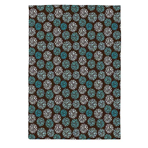 Brown and Blue Dust Proof Tablecloth,Dots Forming Oval Shapes Retro Style Abstract Geometric Vintage Decorative for Kitchen Dinning Tabletop Decoration,60''W X 84''L