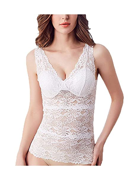 436710fec93 BJAC Women s Cotton Lace V-neck Sleeveless Camisoles and Vests Bustier  Padded Top (White