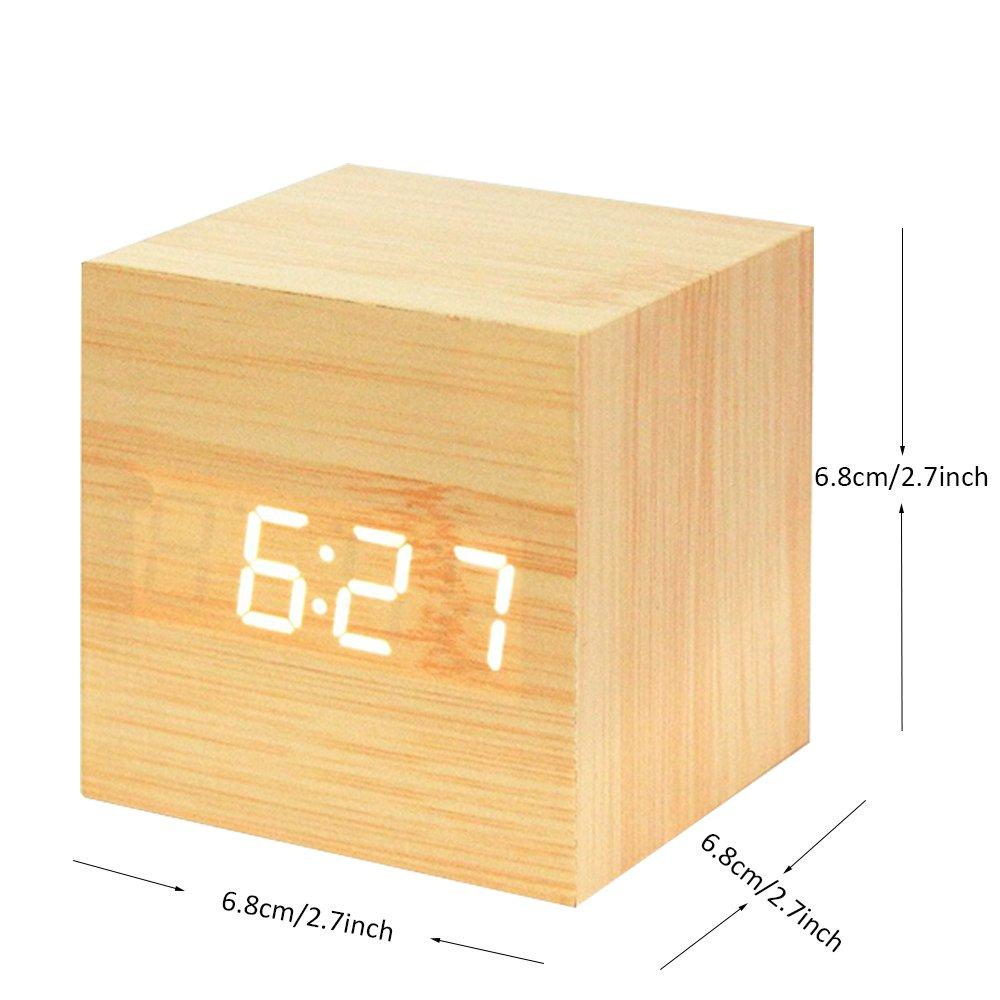 Nero temperatura Onerbuy Orologio da ufficio in alluminio a cubetti in legno Cronometro da viaggio portatile con display LCD per tempo 3 impostazioni di allarme calendario