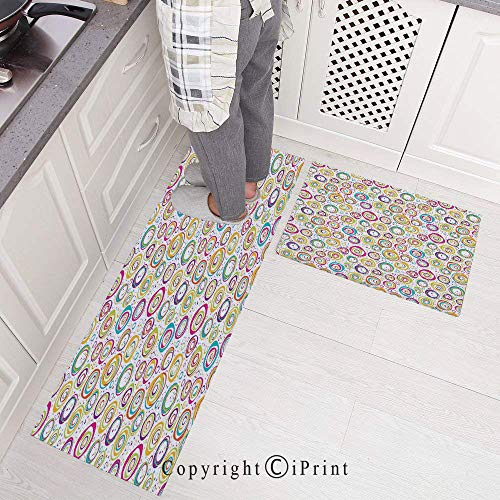 2 Pieces Creative Non-Slip Kitchen Mat Rubber Backing Doormat Runner Rug Set,Pattern with Circles and Dots Bubble Rings Spotted Springtime Enjoyment Decorative Design 15.7
