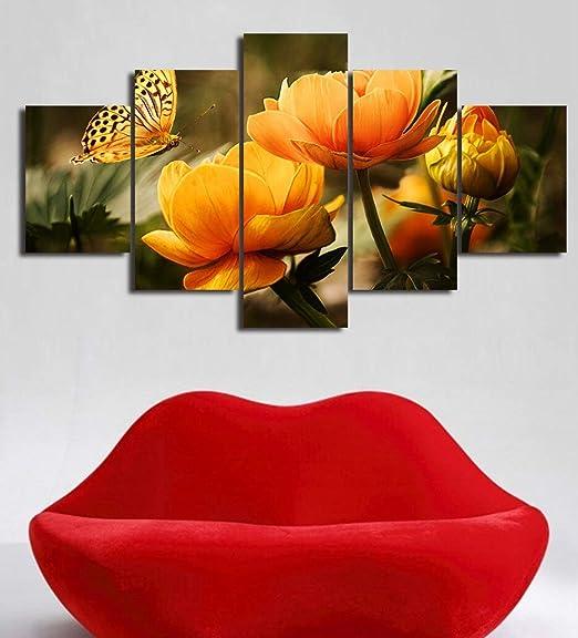 Flor Amarilla Mariposa 5 Paneles Paisaje Pared Cuadros para ...