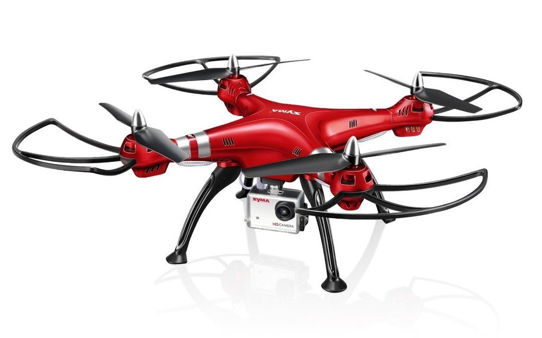 Syma X8HG RC Quadcopter Drone 2.4G 4CH 6-Axis with 8MP Camera, Headless Mode, 100M Control Distance, Barometer Altitude Hold Mode, 2000mAh Battery - Red