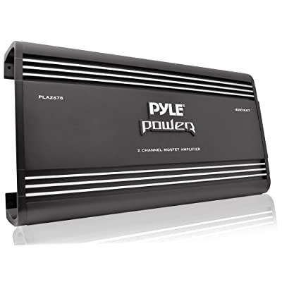 2 Channel Car Stereo Amplifier - 4000W Dual Channel Bridgeable High Power MOSFET Audio Sound Auto Small Speaker Amp Box w/ Crossover, Bass Boost Control, Silver Plated RCA Input Output - Pyle PLA2678: Car Electronics