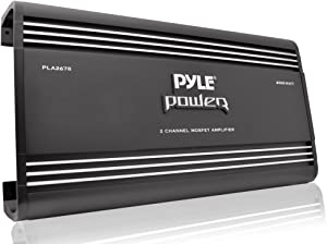 2 Channel Car Stereo Amplifier - 4000W Dual Channel Bridgeable High Power MOSFET Audio Sound Auto Small Speaker Amp Box w/ Crossover, Bass Boost Control, Silver Plated RCA Input Output - Pyle PLA2678