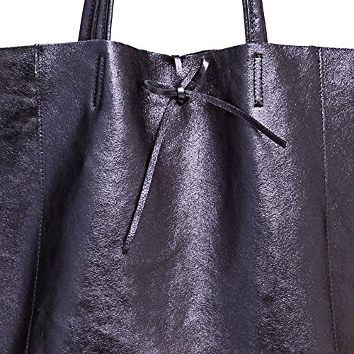 cuir femme CASPAR métallique cuir pour TL781 sac en Bleu sac Métallique Foncé Grand shopping 44xwqIUR
