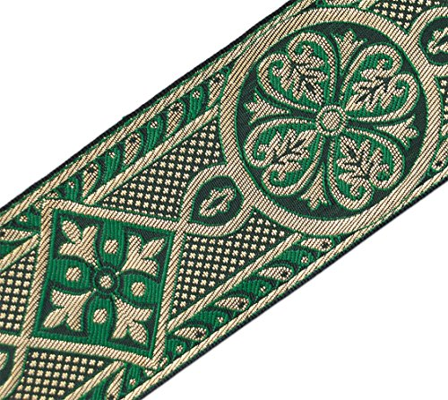 Trim Ribbon Jacquard White (Green & Gold Medieval Jacquard Trim for Chasuble Vestment 2 3/8