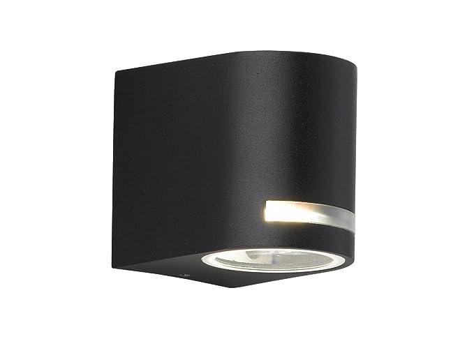 Panama – Lámpara de pared con bombilla LED, aluminio negro, IP44, Fachada iluminación